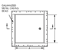WB-DW Metal Access Door for Drywall Surfaces - Schematic