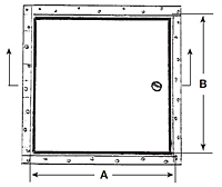 WB-RDW Metal Access Door Recessed for Drywall Surfaces - Schematic